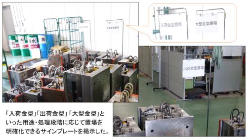 写真2 金型の処置段階に応じた置場の明示