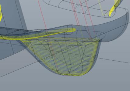 図2 鋳造用金型の微細な溝部を加工しているパス